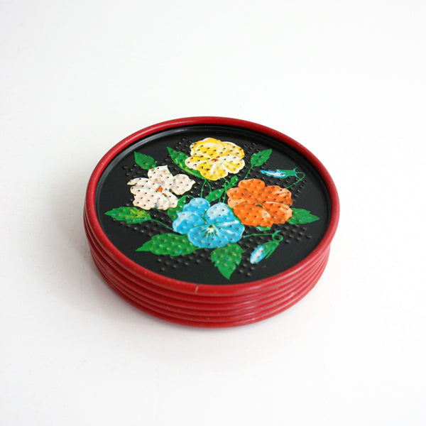 SOLD - Vintage Tin Flower Coasters / 1950's Colorful Tin Lithograph Drink Coasters