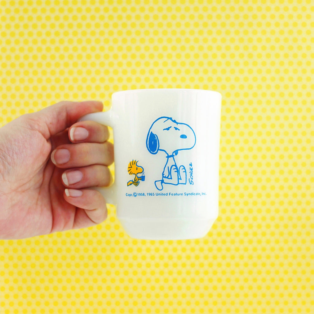 SOLD - Vintage 1965 Fire King Peanuts Mug