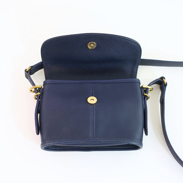 SOLD - Vintage Navy Blue Leather Crossbody Coach Bag