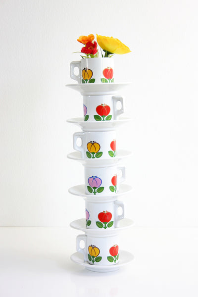 SOLD - Mid Century Tulip Demitasse Cups by ACF Italy