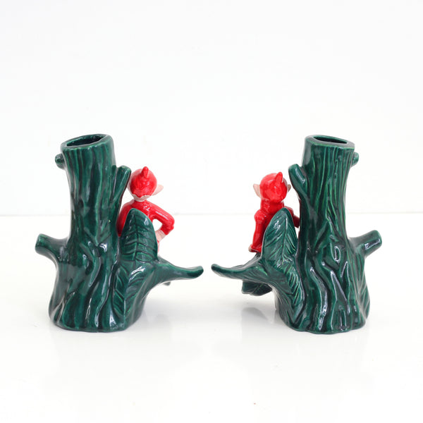 SOLD - Vintage Treasure Craft Christmas Pixie Vases