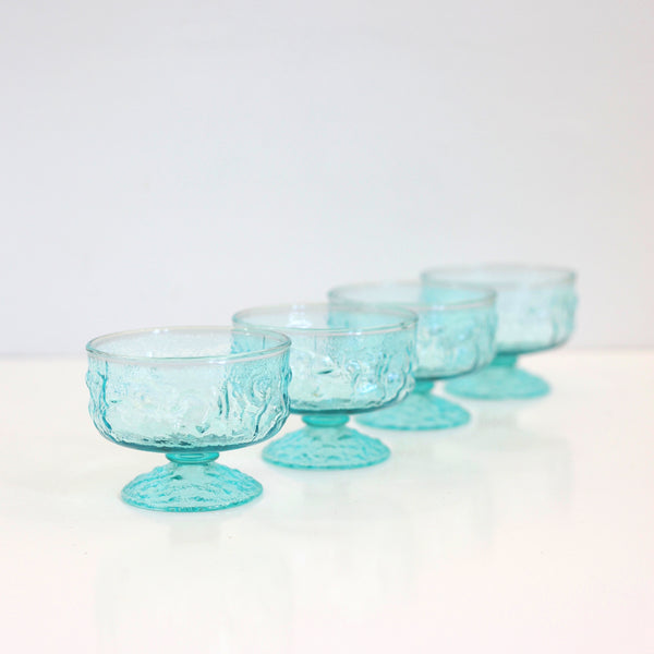 SOLD - Mid Century Aqua Lido Sherbet Dishes by Anchor Hocking