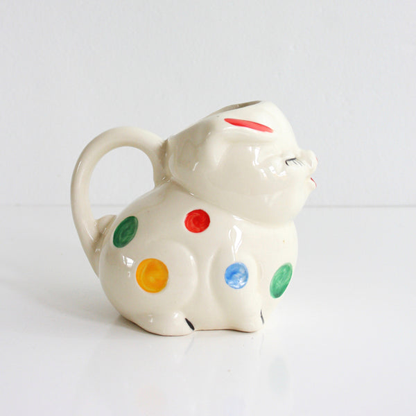 SOLD - 1940s Polka Dot Smiley Pig Creamer / Vintage Pig Pitcher by American Bisque