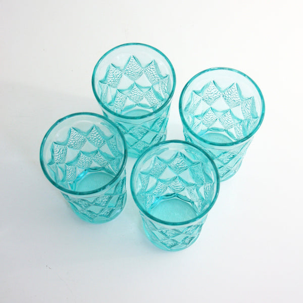 Mid Century Modern Aquamarine Gemstone Kimberly Glasses by Anchor Hocking