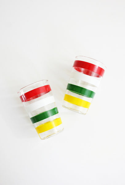 SOLD - Vintage Anchor Hocking Fiesta Tumblers / Vintage Colorful Striped Juice Glasses
