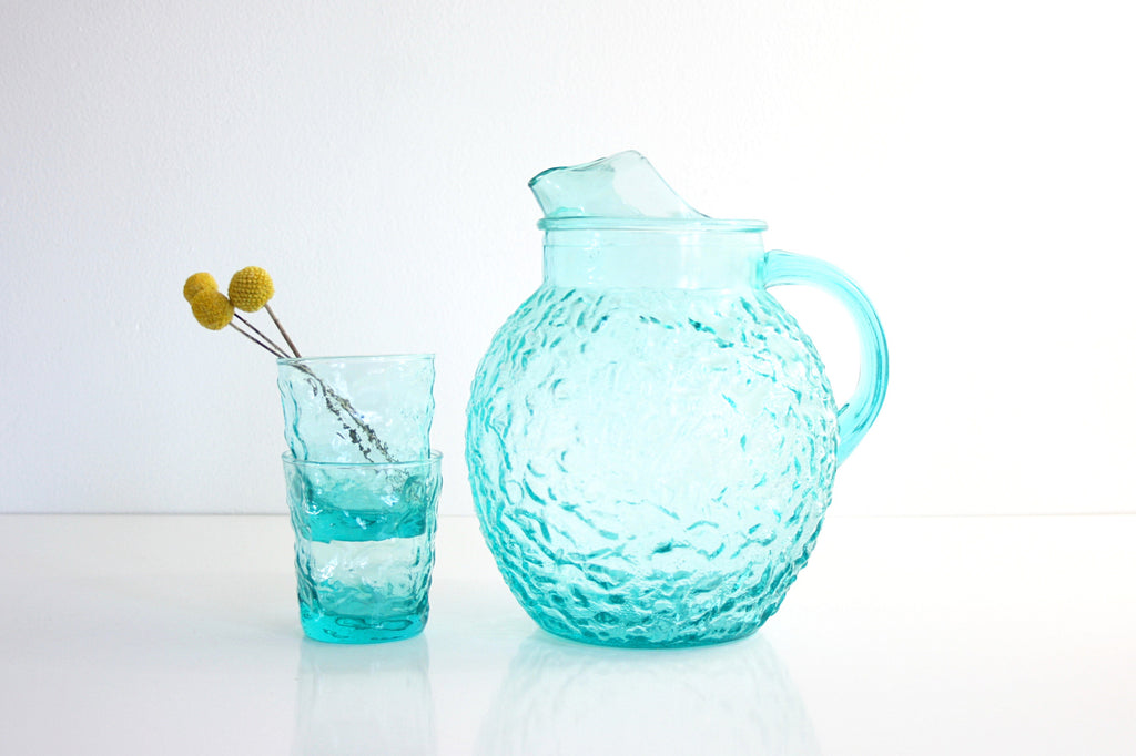 SOLD - Vintage Aqua Blue Glass Pitcher / Mid Century Anchor Hocking Lido Pitcher