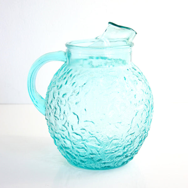 Mid Century Anchor Hocking Aquamarine Lido Pitcher