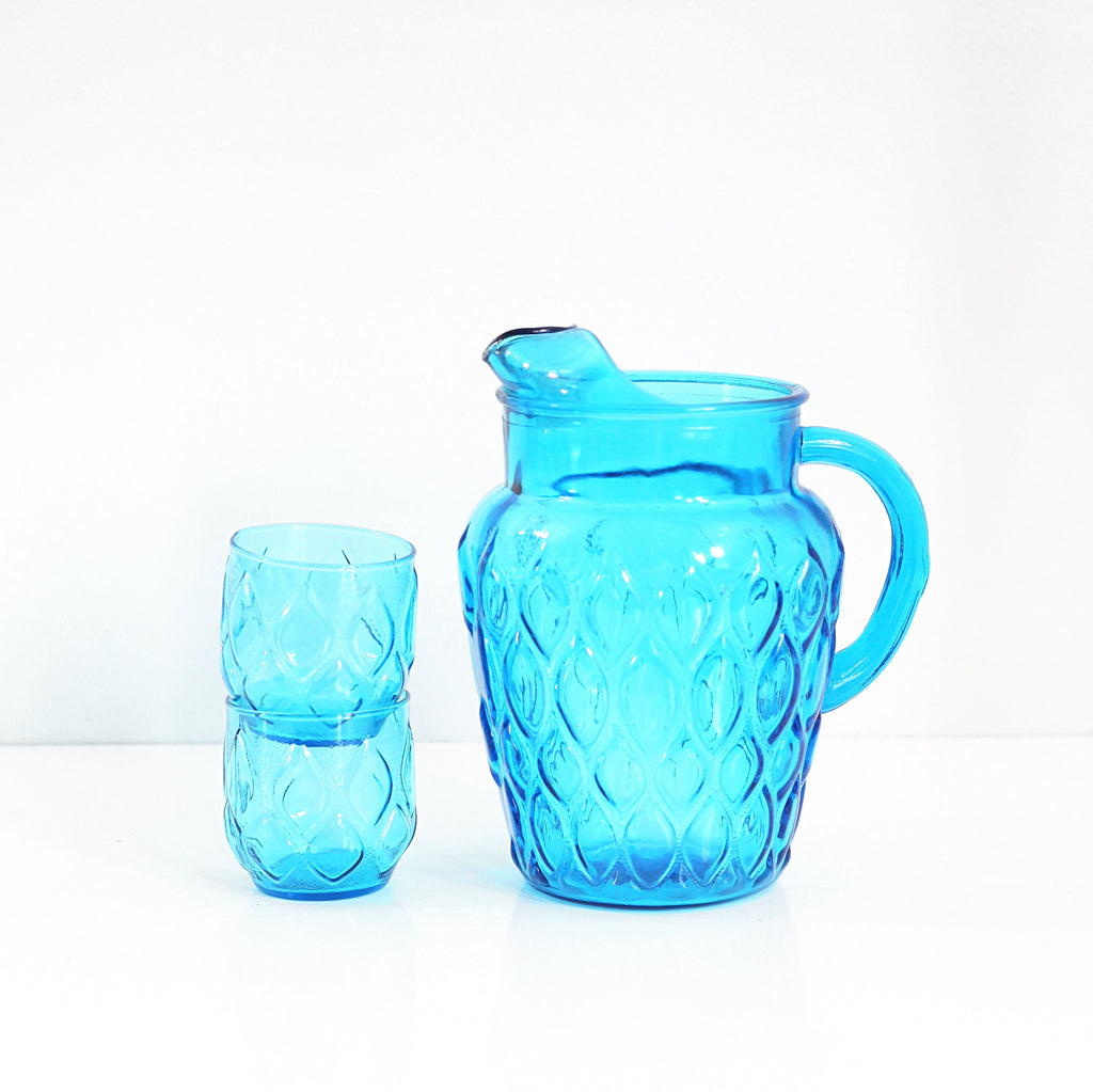 Mid Century Turquoise Blue Madrid Pitcher by Anchor Hocking