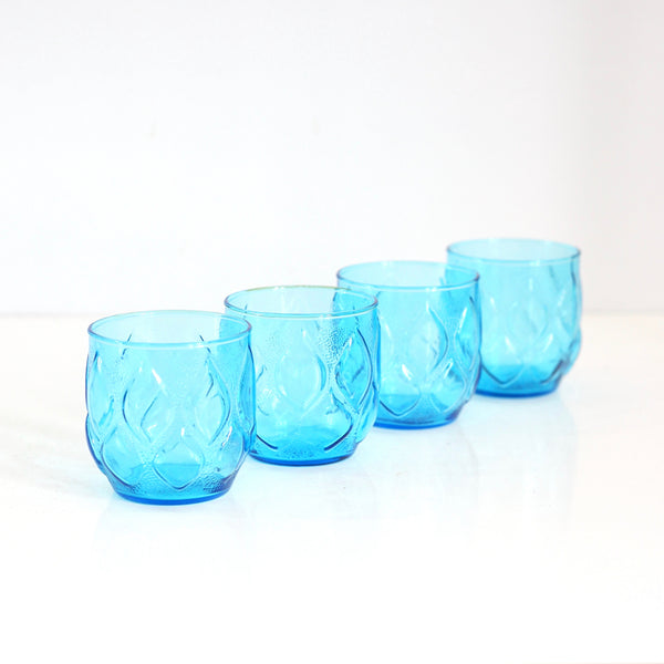 SOLD - Mid Century Turquoise Madrid Glasses by Anchor Hocking