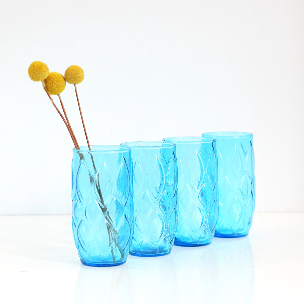 SOLD - Mid Century Tall Turquoise Madrid Tumblers by Anchor Hocking