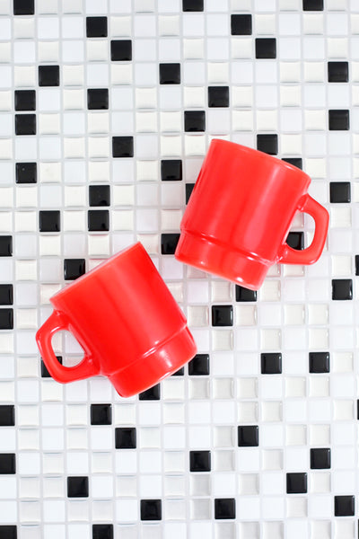 SOLD - Vintage Red Stacking Anchor Hocking Milk Glass Mugs