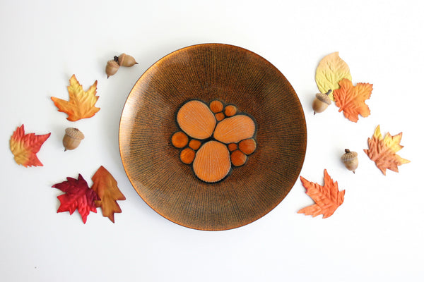 SOLD - Mid Century Modern Enamel Copper Abstract Dish by Annemarie Davidson / Handcrafted California Enamelware