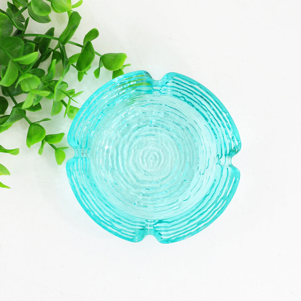 SOLD - Small Mid Century Anchor Hocking Aquamarine Soreno Ashtray
