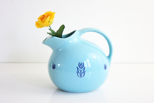 SOLD - Mid Century Aqua Blue Cronin Ceramic Ball Pitcher