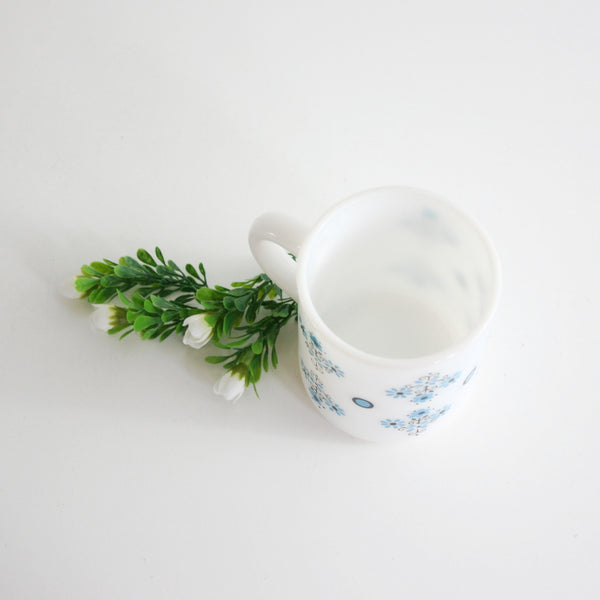 SOLD - Vintage Aqua Blue Flowers Milk Glass Mug by Glasbake