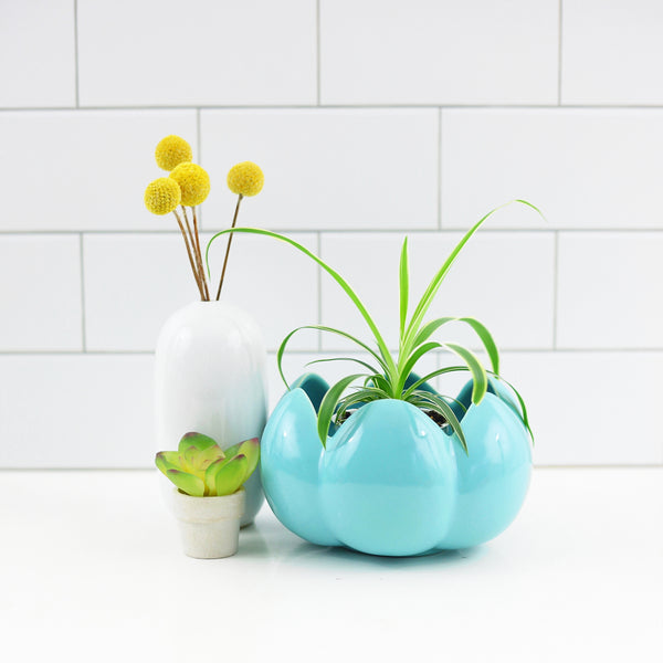 SOLD - Mid Century Aqua Scalloped Planter