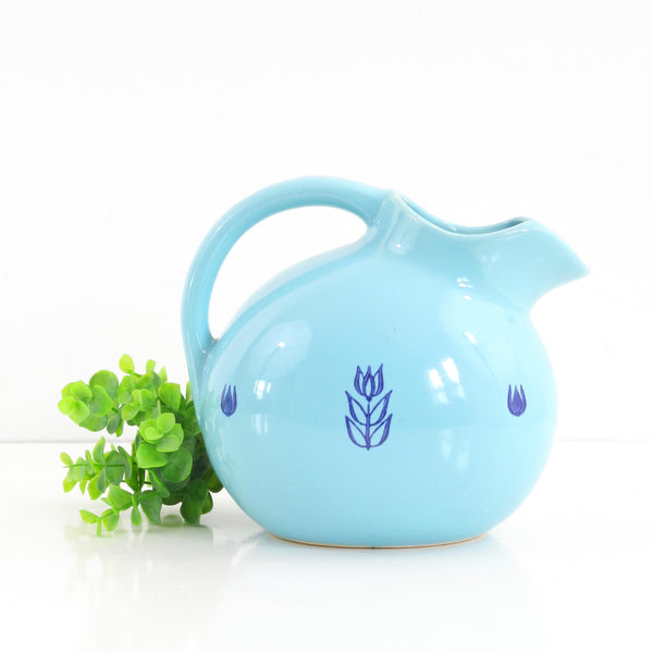 Mid Century Aqua Cronin Ceramic Ball Pitcher