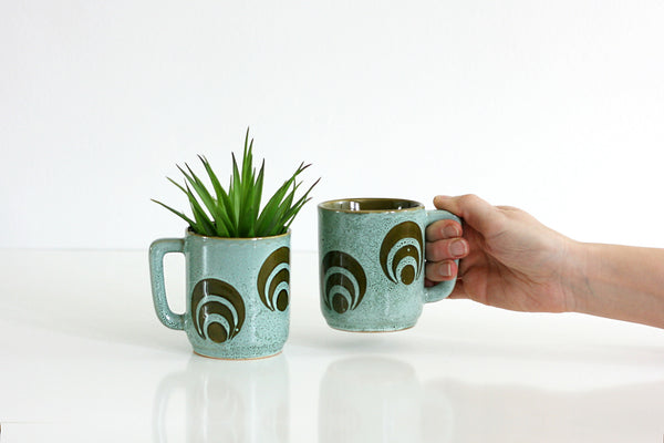 SOLD - Vintage Stoneware Geometric Coffee Mugs