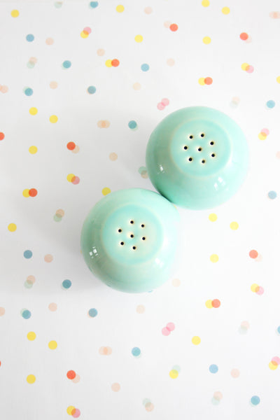 SOLD - Mid Century Modern Aqua / Mint Green Salt and Pepper Shakers