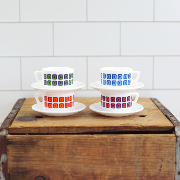 SOLD - Mid Century Arcopal France Espresso Cups & Saucers