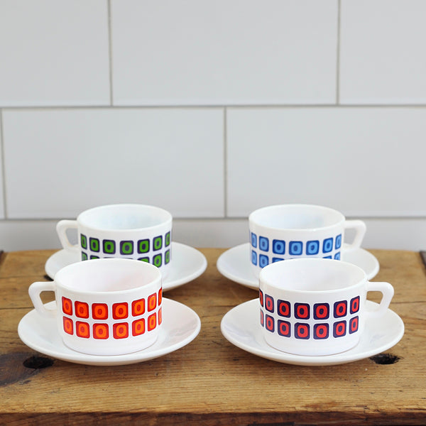 Mid Century Arcopal France Espresso Cups & Saucers