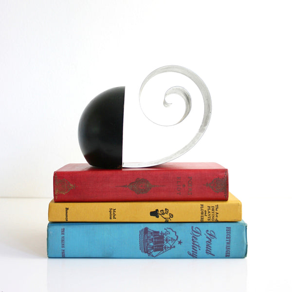 SOLD - Art Deco Coiled Revere Book Holder / 1930s Spiral Bookend by Fred O. Farr
