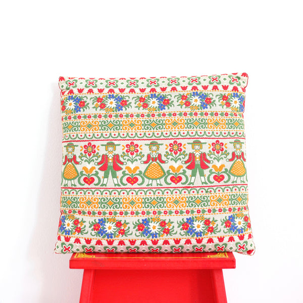 Vintage Austrian Needlepoint Folk Art Pillow