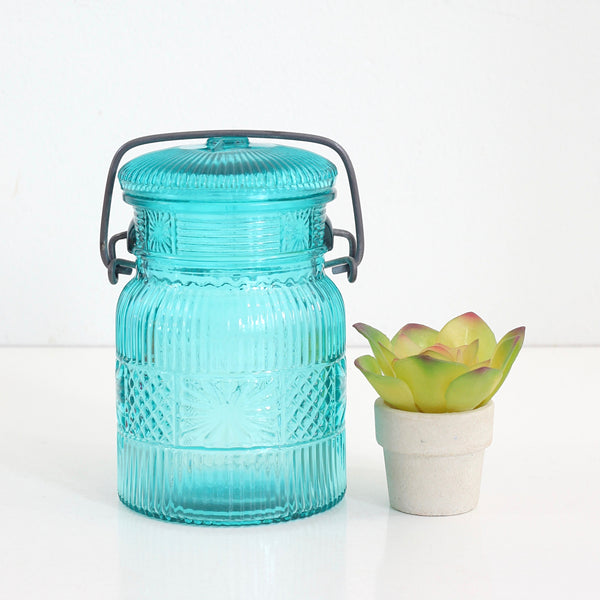 Vintage Aqua Pressed Glass Mason Jar from Avon