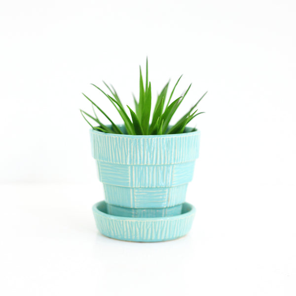 SOLD - Vintage Aqua McCoy Basketweave Planter