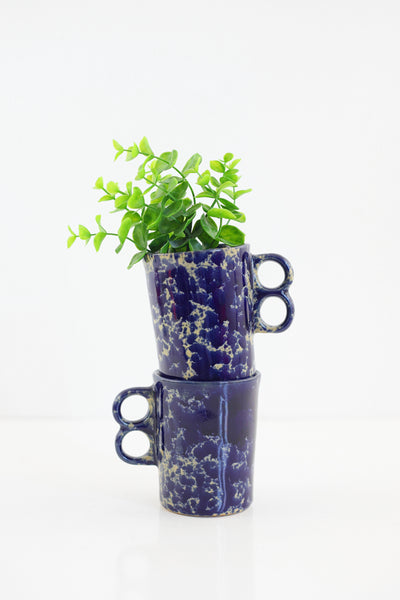 Bennington Potters Blue Agate Trigger Handle Mugs
