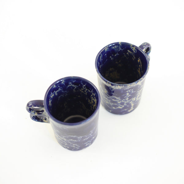 SOLD - Bennington Potters Blue Agate Trigger Handle Mugs
