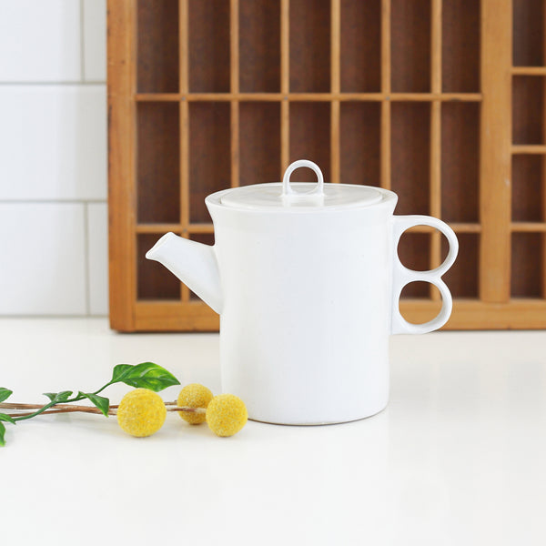 SOLD - Bennington Potters White Trigger Handle Teapot