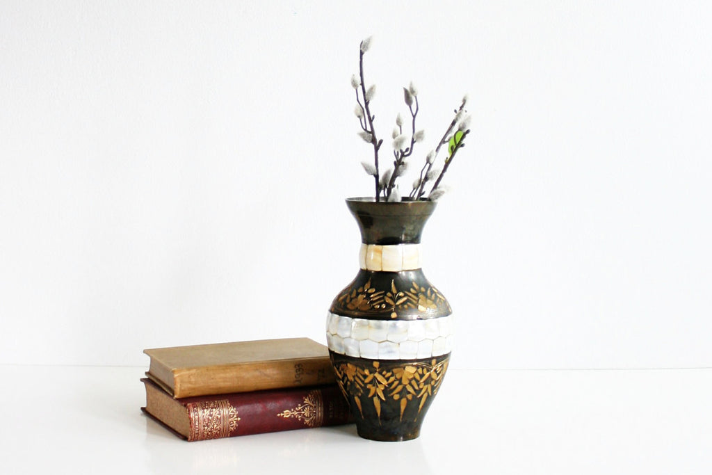 Vintage Etched India Brass Gold and Black Enameled Vase with Mother of Pearl Inlay