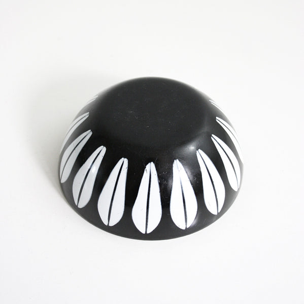"SOLD - Vintage Cathrineholm Black and White 4"" Enamel Lotus Bowl"