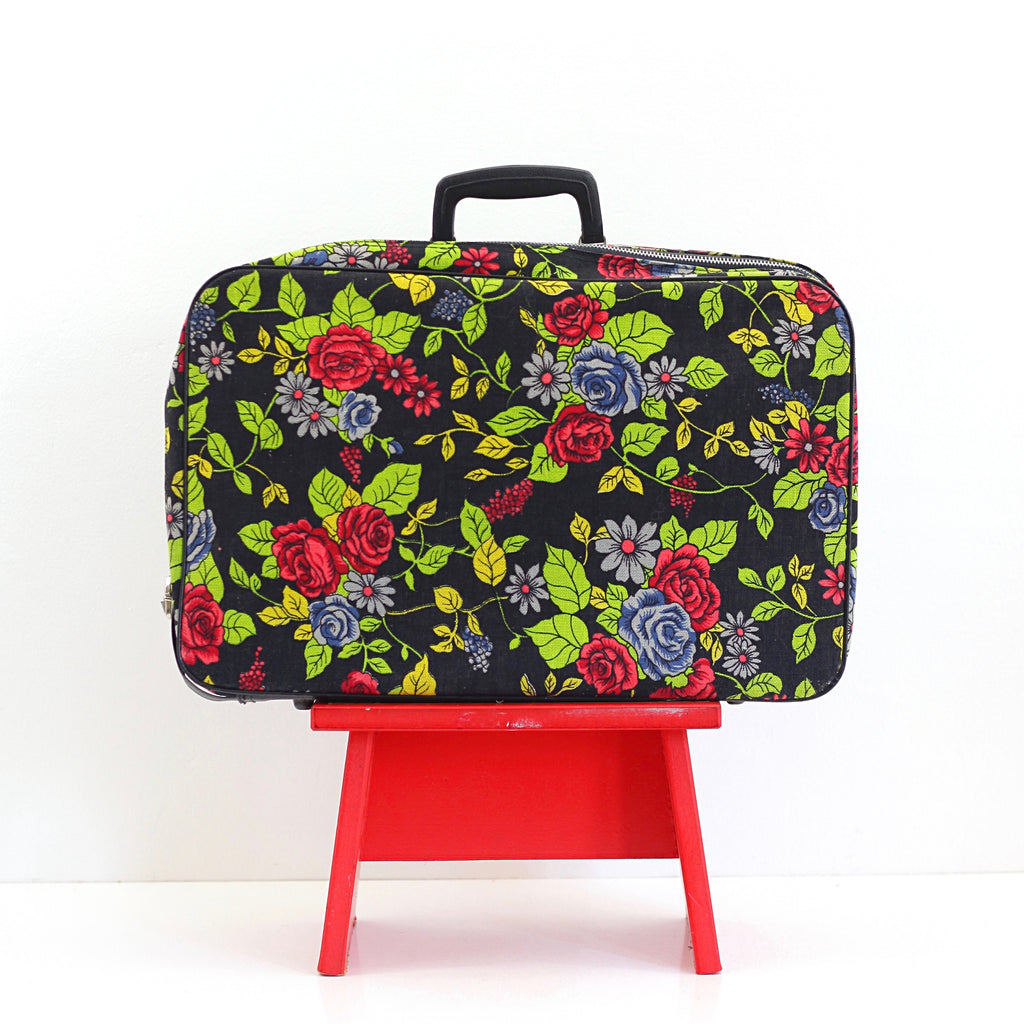 SOLD - Vintage Roses Floral Fabric Suitcase