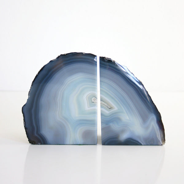 SOLD - Vintage Pair of Blue Agate Geode Bookends