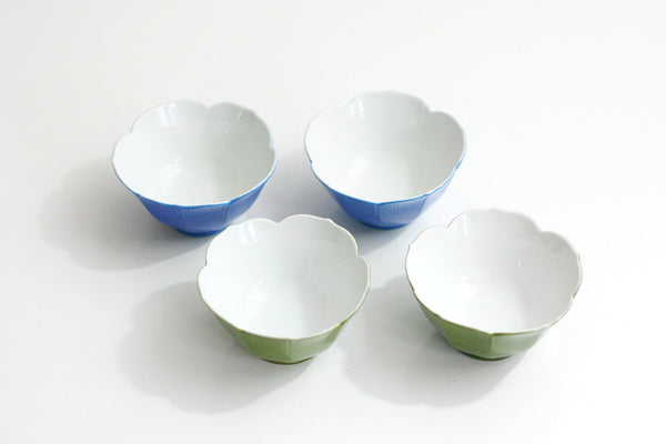 SOLD - Vintage Colorful Porcelain Lotus Bowls / Mid Century Blue & Green Flower Bowls