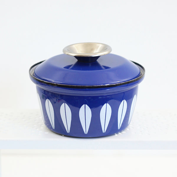 SOLD - Vintage Cathrineholm Cobalt Blue Enamel Lotus Pot