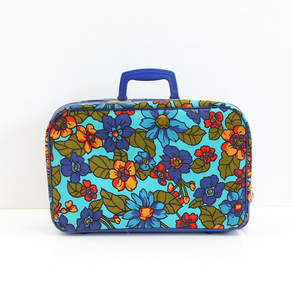 SOLD - Vintage Mod Blue Floral Suitcase