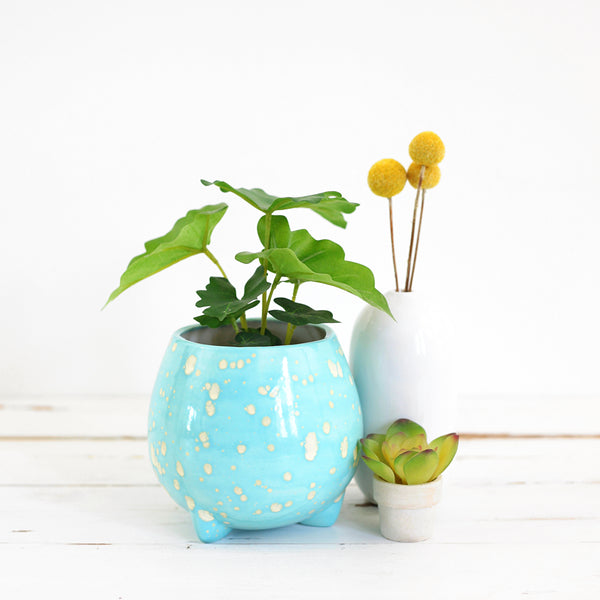 SOLD - Mid Century Sky Blue Tripod Planter