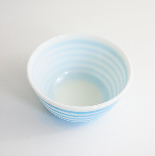 SOLD - Vintage 1965 Pyrex Rainbow Stripes Mixing Bowl / Vintage Pyrex Sky Blue Striped Bowl