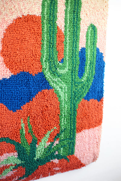 SOLD - Vintage Cactus Latch Hook Wall Hanging