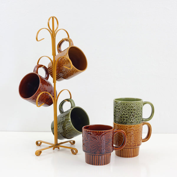 Vintage Stoneware Stacking Mugs with Stand