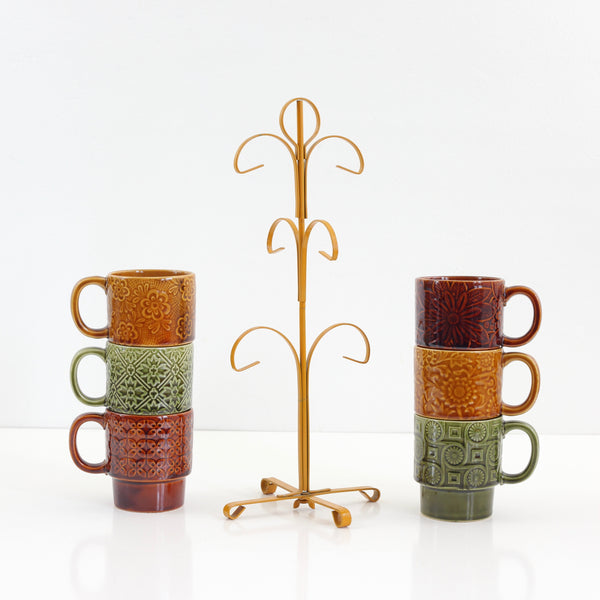 SOLD - Vintage Stoneware Stacking Mugs with Stand