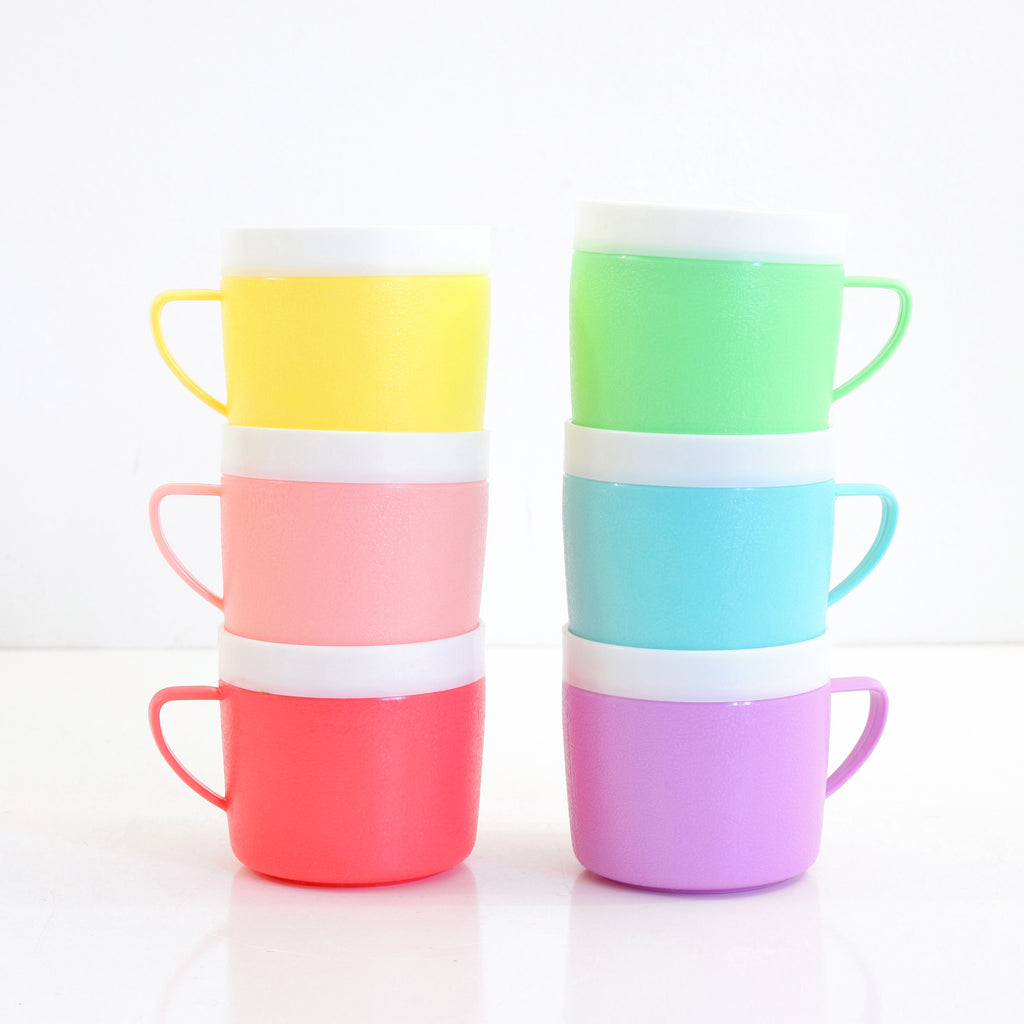 SOLD - Set of 6 Mid Century Bolero Therm-O-Ware Colorful Plastic Mugs
