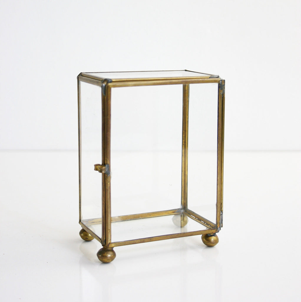 Sold Vintage Glass And Brass Curio Box Mid Century Display Or