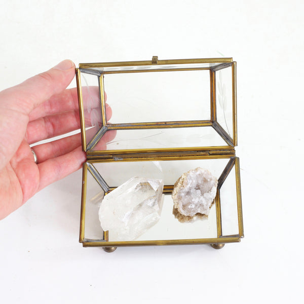 Vintage Glass & Brass Trinket Box