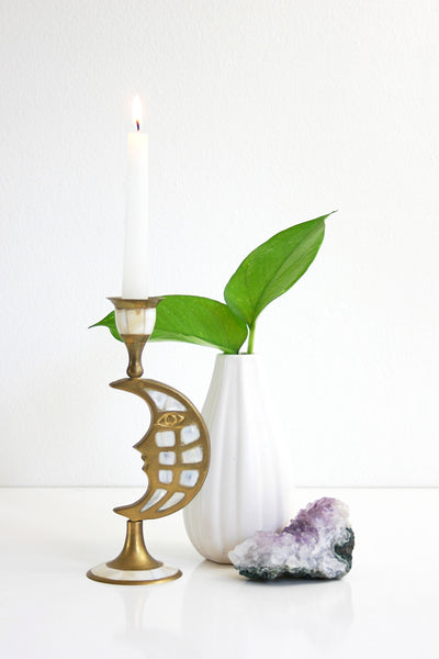 SOLD - Vintage Brass and Mother of Pearl Moon Candlestick / Candle Holder
