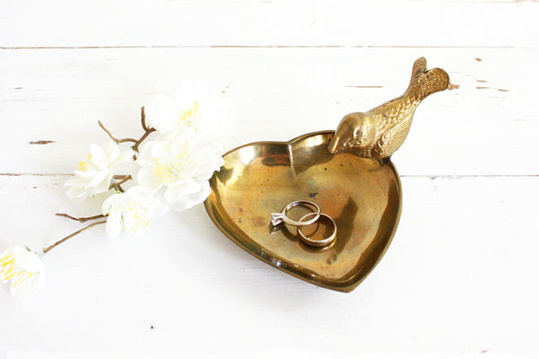SOLD - Vintage Golden Brass Bird and Heart Trinket Dish / Mid Century Brass Dish