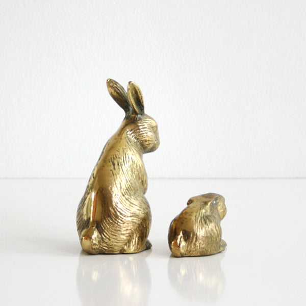 SOLD - Vintage Brass Rabbits / Mid Century Brass Bunny Figurines